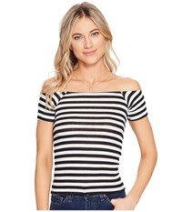 Billabong Right Now Knit Top Black White Women's Clothing