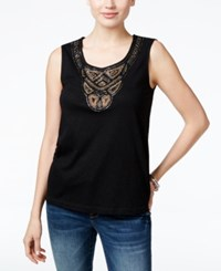 Jm Collection Petite Embellished Tank Top Only At Macy's Deep Black