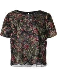 Marchesa Floral Embroidered Top Black