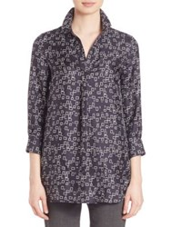 Piazza Sempione Printed Silk Tunic Blue Grey
