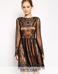 Frock And Frill Embellished Prom Dress With Long Bell Sleeve Blacknudelining