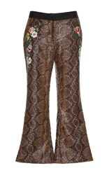 Zayan The Label Zoe Embroidered Snake Trousers Print