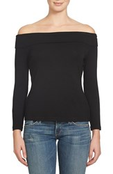 1.State Women's Off The Shoulder Stretch Jersey Top Rich Black
