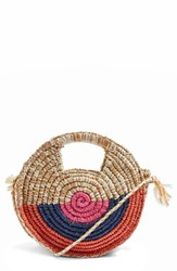 Topshop Bright Snail Straw Tote Bag Beige Nude Multi