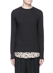 Mcq By Alexander Mcqueen Leopard Print Hem Long Sleeve T Shirt Black