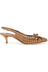 Dolce And Gabbana Woven Metallic Leather Pumps Bronze