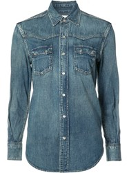 Saint Laurent Western Stitched Pocket Denim Shirt Blue