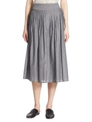 Vince Pleated Striped Wrap Skirt Black Off White