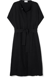 The Row Miriam Belted Wool And Silk Blend Coat Black