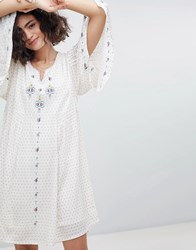 Intropia Embroidered Tunic Dress With Fluted Sleeve Beige Print Cream