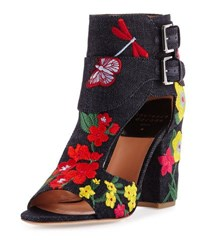 Laurence Dacade Rush Embroidered Denim Bootie Navy