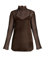 Nina Ricci Fluted Neck Silk Organza Blouse Brown