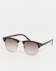 Jeepers Peepers Clubmaster Sunglasses In Tort Brown