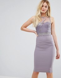 Little Mistress Lace And Embroidered Midi Dress Gray