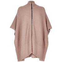 River Island Womens Blush Pink Ribbed Zip Poncho