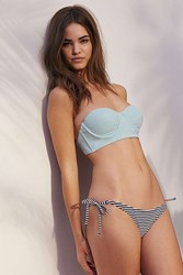 Out From Under Printed Side Tie Ruched Bikini Bottom Black And White