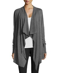 Neiman Marcus Knit Open Front Cardigan Dark Heather Charcoal