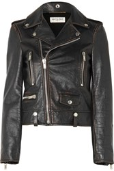 Saint Laurent Perfecto Distressed Leather Biker Jacket Black