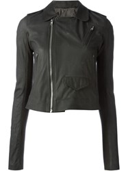Rick Owens Cropped Biker Jacket Grey