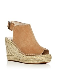 Kenneth Cole Olivia Suede Espadrille Wedge Sandals Almond