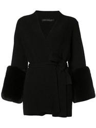 Sally Lapointe Belted Cardigan Black