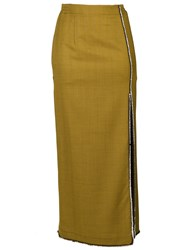 Attico Embellished Trim Skirt Spandex Elastane Wool Glass Yellow Orange