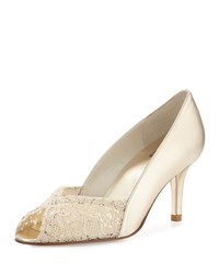 Stuart Weitzman Chantelle Lacy Peep Toe Pump Gold Women's
