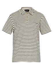 Howlin' Six Blade Knife Striped Terry Towelling Polo Shirt White Navy