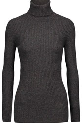 Autumn Cashmere Ribbed Turtleneck Sweater Charcoal
