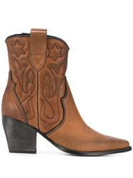 Kennel Schmenger And Heeled Texan Boots Brown