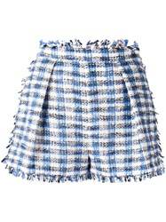 Msgm Fringed Plaid Shorts Blue