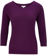 Cc Petite V Neck Cable Jumper Berry