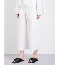 See By Chloe Wide Leg Cropped Cotton Trousers Cloud Dancer
