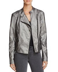 Vero Moda Miley Metallic Faux Leather Moto Jacket Pewter