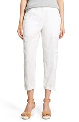 Women's Eileen Fisher Organic Linen Cargo Ankle Pants White