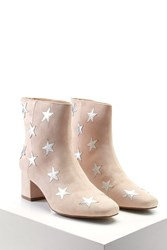 Forever 21 Star Printed Faux Suede Boots Blush