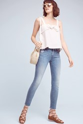 Anthropologie Mother Looker Mid Rise Skinny Petite Jeans Denim Dark