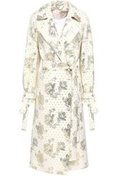 Emilia Wickstead Double Breasted Metallic Jacquard Coat Beige