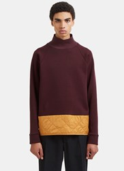 Marni Diamond Quilted Roll Neck Sweater Burgundy