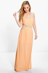 Boohoo Eva Embellished Waist Cut Out Maxi Dress Apricot