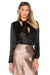 Michelle Mason Tie Neck Wrap Blouse Black