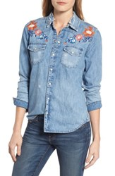 Lucky Brand Women's Embroidered Denim Shirt Coupland