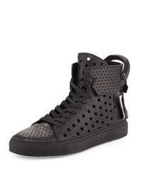 Buscemi Men's 125Mm Perforated Leather High Top Sneaker Black