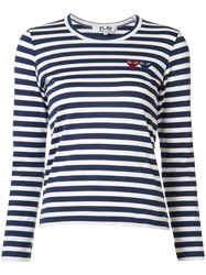Comme Des Garcons Play Breton Stripe Logo T Shirt Blue