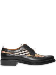 Burberry Brogue Detail Leather And Vintage Check Derby Shoes Black