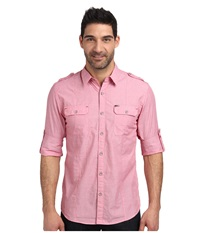 Dkny Long Sleeve Roll Tab End On End Shirt Casual Wash Flared Red Men's Long Sleeve Button Up Pink