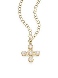 Temple St. Clair Pearl And Diamond Five Stone Cross Gold