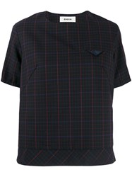 Zucca Checked Boxy T Shirt Black