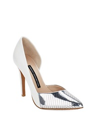 French Connection Mabel Perforated Metalllic Dorsay Pumps Silver