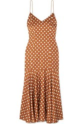Caroline Constas Kai Polka Dot Silk Satin Dress Brown